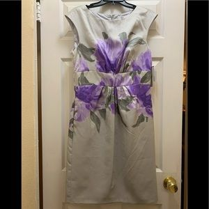 Gray floral dress with purple floral design
